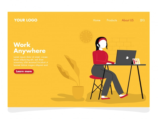 Women with laptop illustration for landing page
