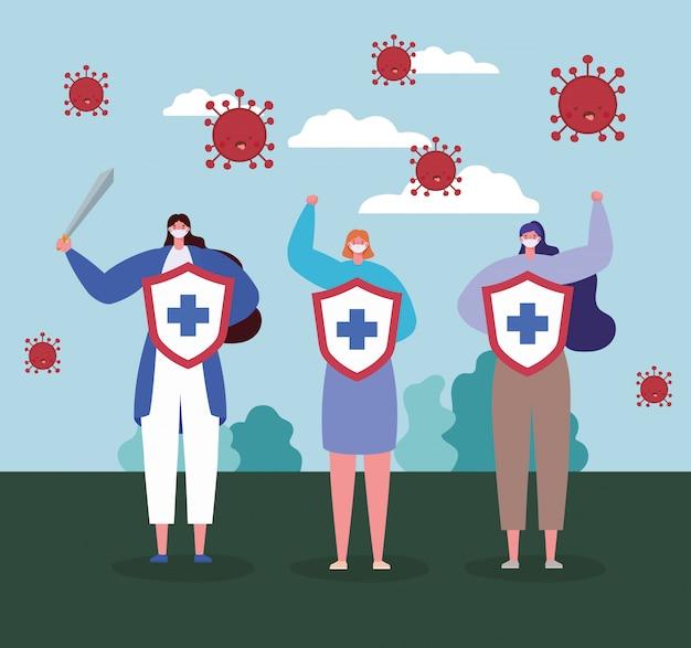 Fight covid 19ウイルスのクロスとソードデザインのマスクシールドを持つ女性と拡散のテーマイラストを停止