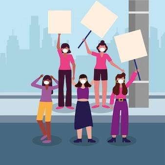 市で医療マスクとバナーボードを持つ女性
