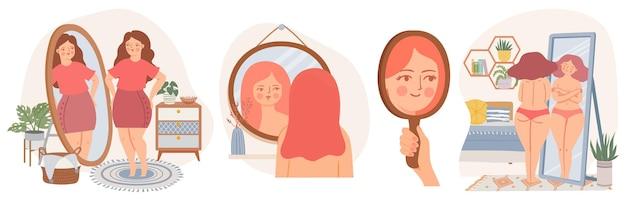 鏡を持った女性。自信を持って若い女性は鏡の反射を見てください。自己受容の概念。スカンジナビアのインテリアベクトルセットの女の子。彼女の体を愛する幸せなのんき太りすぎの女性、