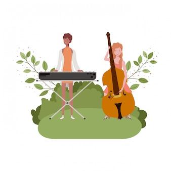 楽器と風景を持つ女性