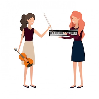 Women with musical instruments character