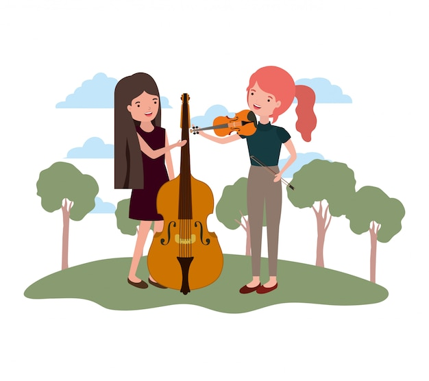 Women with musical instruments in landscape
