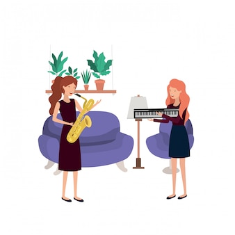 Women with musical instruments in living room