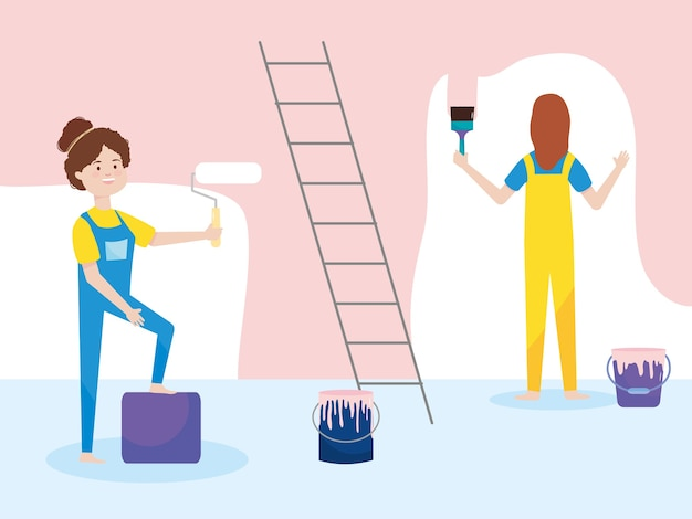 Women with overalls and paint roller bucket brush  illustration remodeling