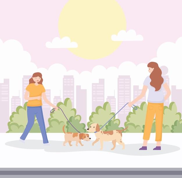 거리에서 애완 동물을 가진 여성