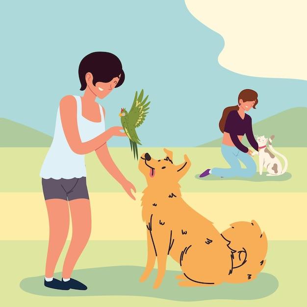 애완동물을 키우는 여성