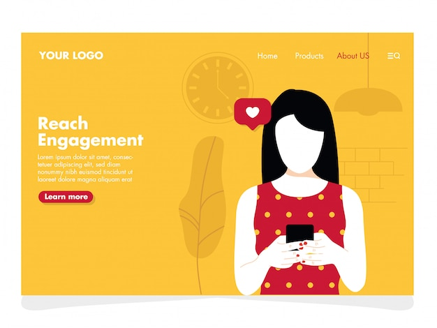 Women with phone illustration for landing page
