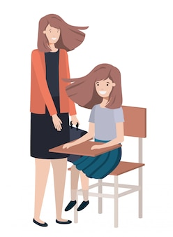 Women with school desk avatar character