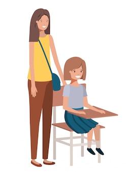 Women with school desk avatar character