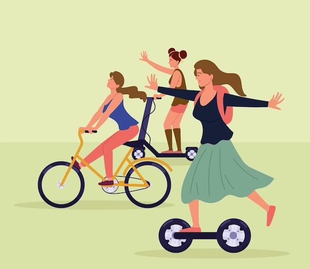 스쿠터와 자전거를 가진 여성