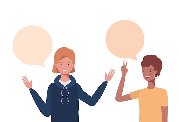 Women with speech bubble avatar character
