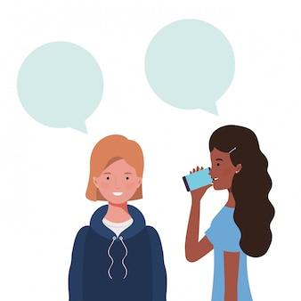 Women with speech bubble avatar character