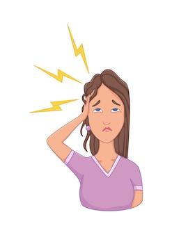 스트레스 증상이 있는 여성 - 두통. 정서적 또는 정신 건강 문제, 스트레스. 만화 캐릭터 개념