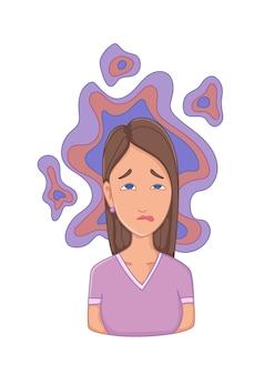 스트레스 증상이 있는 여성 - 불면증. 정서적 또는 정신적 건강 문제, 스트레스. 만화 캐릭터 개념입니다.