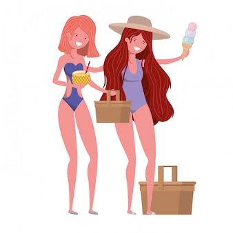 Women with swimsuit and pineapple cocktail