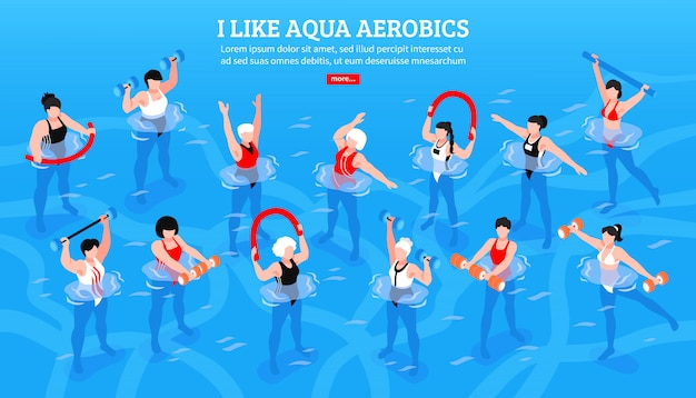 Women with various equipment during aqua aerobics class on blue isometric horizontal illustration
