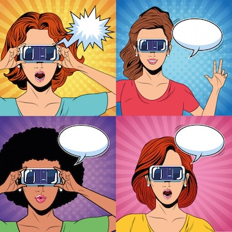 Women with virtual reality glasses
