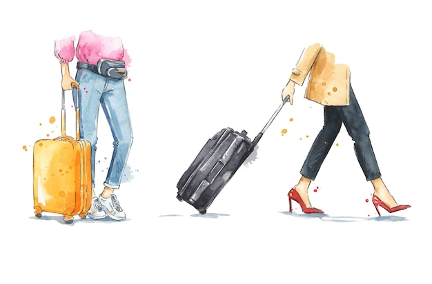 바퀴 달린 여행 가방을 가진 여성 수채화 수하물 일러스트를 걷고