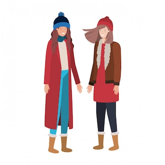 Women with winter clothes avatar character