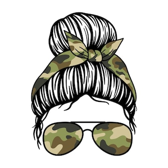 Women with with aviator glasses bandana and camouflage print mom skull with messy bun
