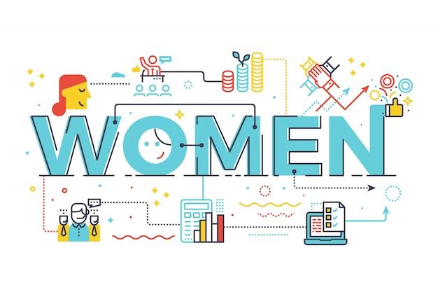 ビジネスコンセプトレタリングデザインイラストの女性の言葉