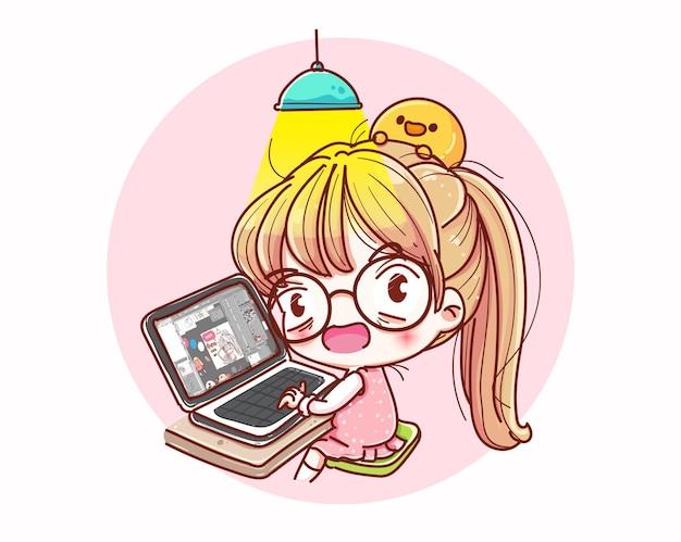 집에서 일하는 여성과 만화 캐릭터 디자인.