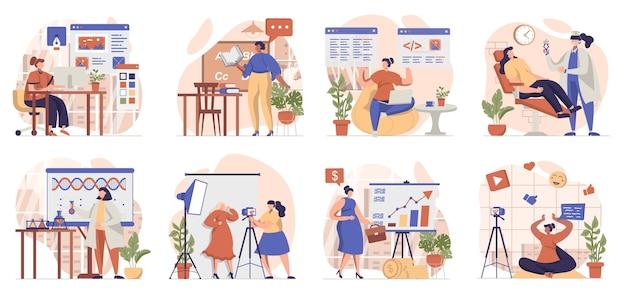고립 된 장면의 컬렉션을 작업하는 여성 사람들은 다른 직업이나 직업에서 일합니다.