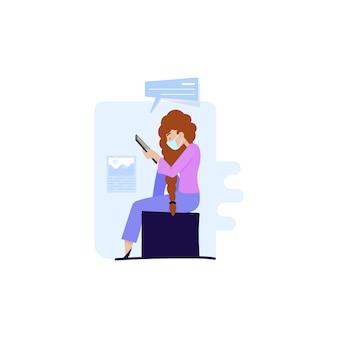 自宅またはオフィスで検疫されたマスク錠を使用している女性、および経済やコロノウイルスに関するニュースを読んでいる女性