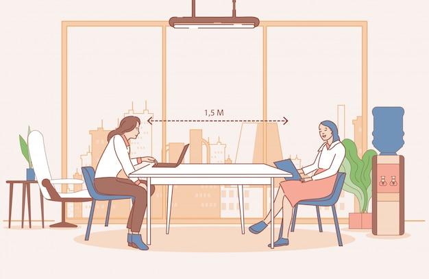 安全な社会的距離を維持し、オフィスで働く女性のベクトル漫画概要図。