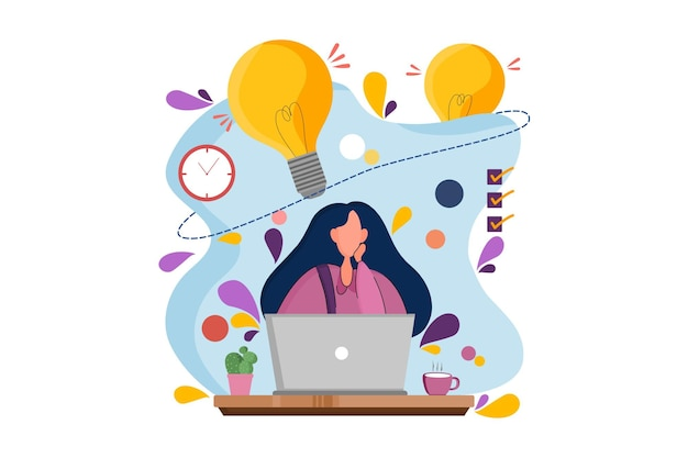 Women working and thinking business idea web illustration
