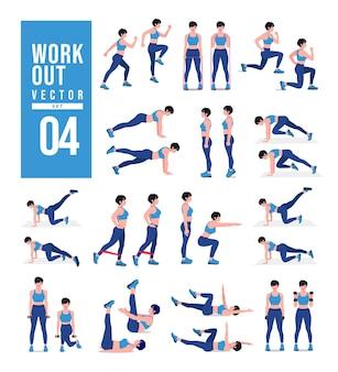 Набор для тренировок для женщин женщины делают упражнения для фитнеса и йоги