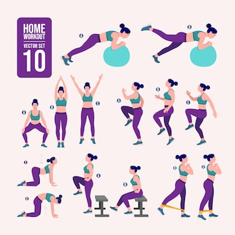 Women workout set women doing fitness and yoga exercises