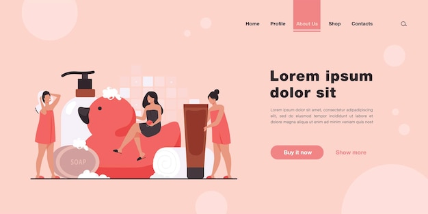 Women wrapped in towels using sponge and soap among bath accessories. landing page in flat style.
