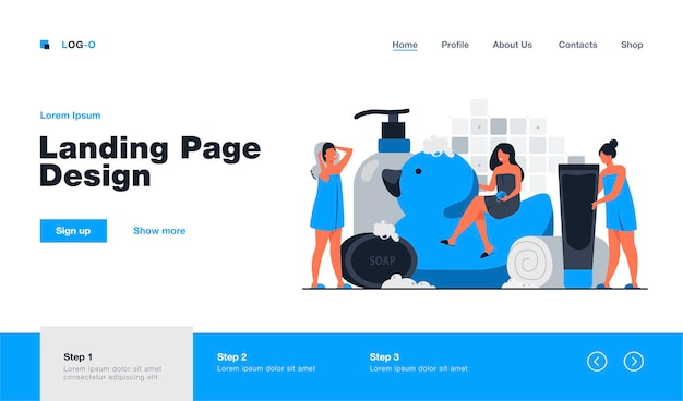 Women wrapped in towels using sponge and soap among bath accessories, tubes and shampoo bottles landing page template