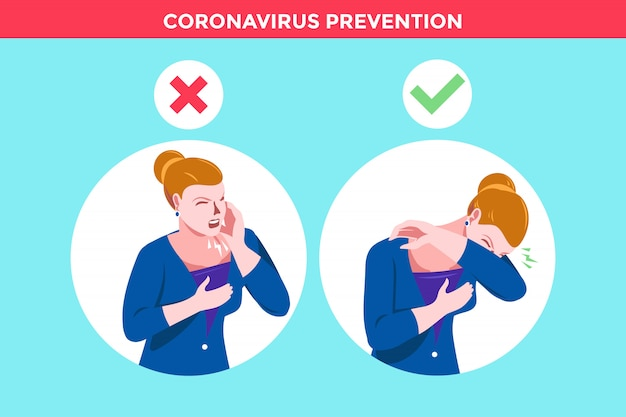 Women for wrong cough in hand and the correct method in napkin and elbow fold to corona virus prevention