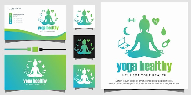 Women yoga or gym for healthy logo design