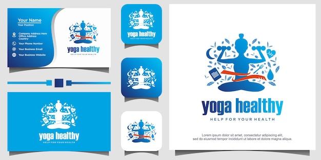 Women yoga for healthy logo design illustration