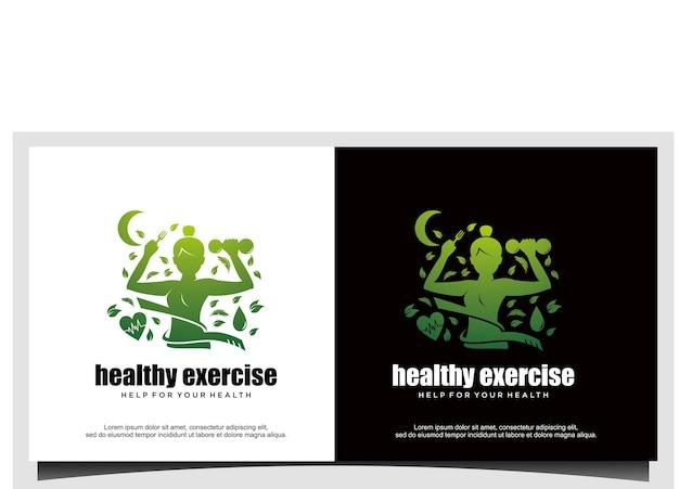 Женская йога или тренажерный зал для здорового дизайна логотипа