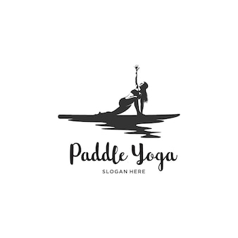 Women yoga paddle board logo illustration