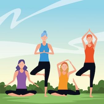 Women yoga poses