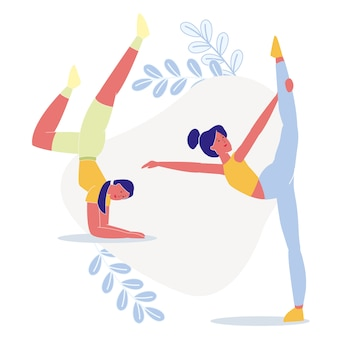 Women do yoga together flat illustration