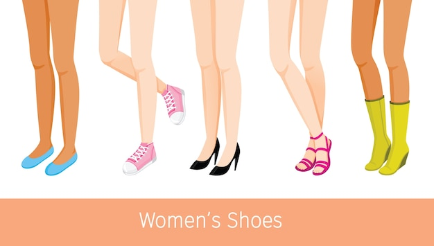 Women's legs with different skin and types of shoes, women standing