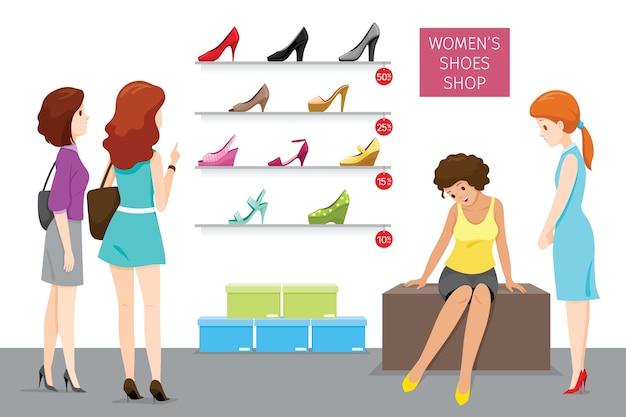Магазин женской обуви с продавщицей и покупателями
