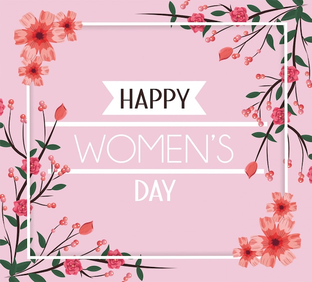 Womenday day card with flowers decoration to event