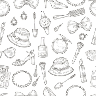 Womens accessories seamless pattern.