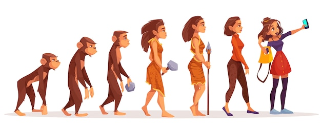 Womens beauty and fashion evolution cartoon