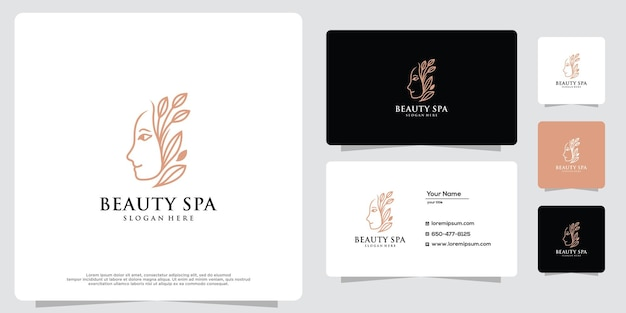 Womens beauty salon and spa line logo gold logo design icon and business card template