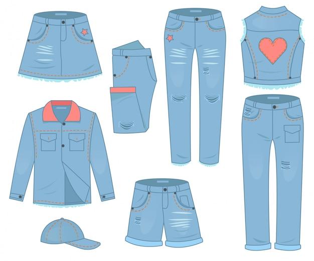 ブルージーンズの婦人服セット。ファッションデザインの都会的なカジュアルスタイル