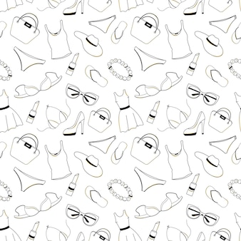 Womens clothing, shoes, underwear and accessories seamless pattern. design element for voucher, discount, sale to black friday